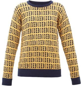 Bode Signature Logo-jacquard Wool Sweater - Yellow