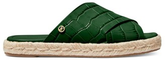 MICHAEL Michael Kors Linden Croc-Embossed Leather Espadrille Slides