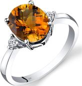 Ice 2 1/3 CT TW Genuine Citrine 14K White Gold 3-Stone Ring with Diamond Accents