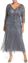Pisarro Nights Plus Size Women's Embellished Double V-Neck Midi Dress