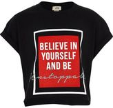 River Island Girls Black 'be yourself' cropped T-shirt