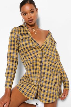 boohoo Long Sleeve Button Down Check Shirt Dress