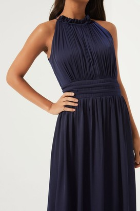 Little Mistress Navy Frill Halter Neck Maxi