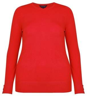 Dorothy Perkins Womens **Dp Curve Red Button Cuff Jumper, Red