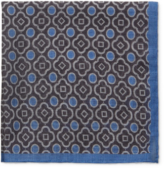 Anderson & Sheppard Printed Cotton-Voile Pocket Square - Men - Gray