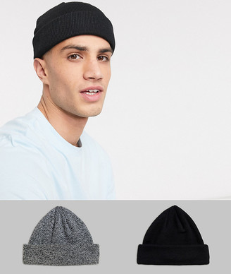 ASOS DESIGN 2 pack mini fisherman beanie in black and black twist SAVE