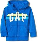 Stripe logo raglan zip hoodie
