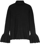 Co Pointelle-knit Wool-blend Sweater - Black