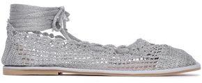 ALEXACHUNG Lace-up Crochet-knit Ballet Flats