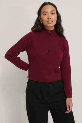 NA-KD Cropped Zip Detail Knitted Sweater