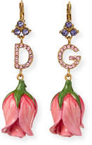 Dolce & Gabbana Crystal Tulip-Drop Earrings, Pink