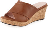 Taryn Rose Saura Crisscross Leather Wedge Mule, Tan