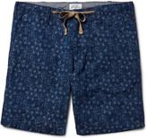 Hartford - Slim-fit Indigo-dyed Floral Cotton-jacquard Shorts