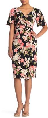 Maggy London Floral Faux Wrap Midi Dress (Petite)