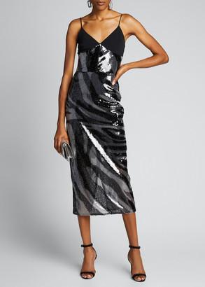 David Koma Zebra-Print Sequined Cami Dress