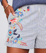 LOFT Petite Floral Embroidered Riviera Shorts with 3 Inch Inseam