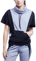 Zobha Heather Slate & Black Shay Short Sleeve Pullover.