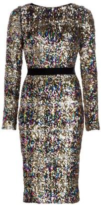 Talbot Runhof Patina Sequin Long-Sleeve Sheath Dress