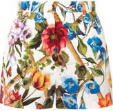 Dolce & Gabbana Floral-print Cotton-poplin Shorts - Off-white