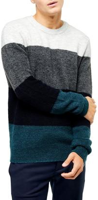 Topman Harlow Classic Fit Colorblock Crewneck Sweater