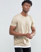 Asos Longline T-shirt In Beige With Contrast Hem Extender