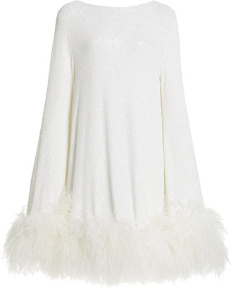NERVI Exclusive Ines Feather-Trimmed Sequined Mini Dress