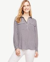 Ann Taylor Gingham Camp Shirt