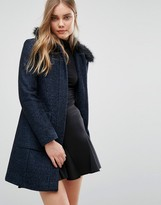 Warehouse Swing Faux Fur Collar Coat