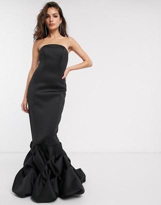 ASOS DESIGN premium extreme bubble hem bandeau maxi dress