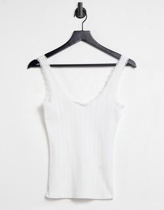 Monki scoop neck tank in white