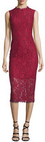 Shoshanna Sleeveless Lace Midi Sheath Dress, Garnet/Jet