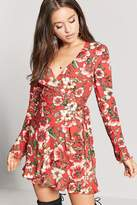 LOVE21 LOVE 21 Floral Flounce Wrap Dress