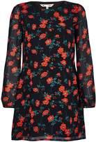 Yumi Black Shift Dress With Bird Print