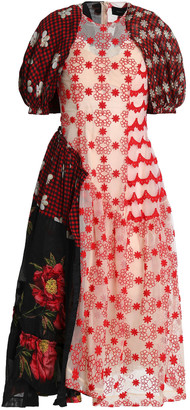 Simone Rocha Patchwork-effect Embroidered Tulle And Printed Crepe De Chine Midi Dress