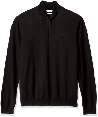 Calvin Klein Men's Merino End on End Check Quarter Zip Sweater