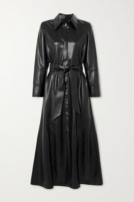 Nanushka Asayo Belted Vegan Leather Midi Shirt Dress - Black