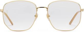 Gucci Rectangular-frame metal glasses