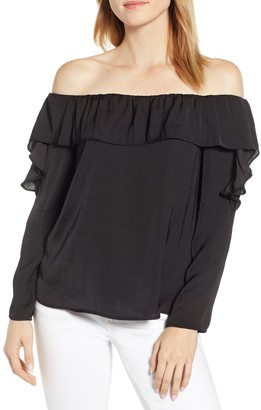 1 STATE Hammered Satin Off-the-Shoulder Ruffle Blouse