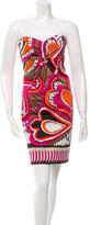 David Meister Strapless Printed Dress
