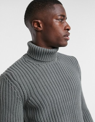 ASOS DESIGN knitted heavyweight fisherman rib roll neck sweater in charcoal