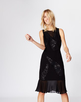 Nicole Miller Sequined Leaves Dress