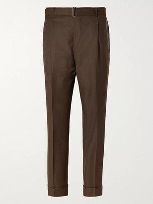 Officine Generale Hugo Tapered Pleated Wool Trousers