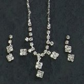 Gc Handcrafted Squares Crystal Necklace and Pendant Earrings Set