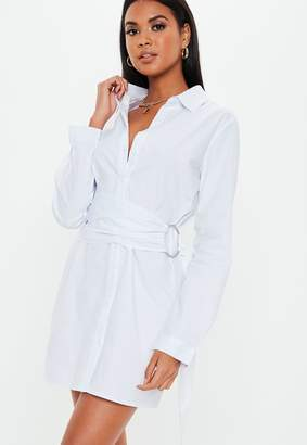 Missguided White Poplin Belted Shirt Dress