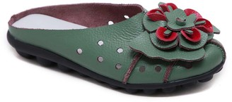 Rumour Has It Women's Mules Teal - Teal Floral Accent Leather Mule - Women