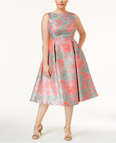 Adrianna Papell Plus Size Floral-Print A-Line Dress