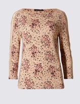 Marks and Spencer Speckle Floral Print 3/4 Sleeve Jersey Top