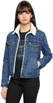 Kenzo Cotton Denim Jacket W/ Faux Shearling