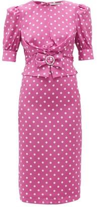 Alessandra Rich Crystal-brooch Polka-dot Silk Midi Dress - Womens - Pink White