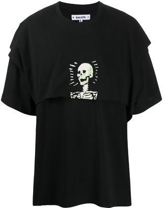 Salute + Evaemob skull-print layered T-shirt